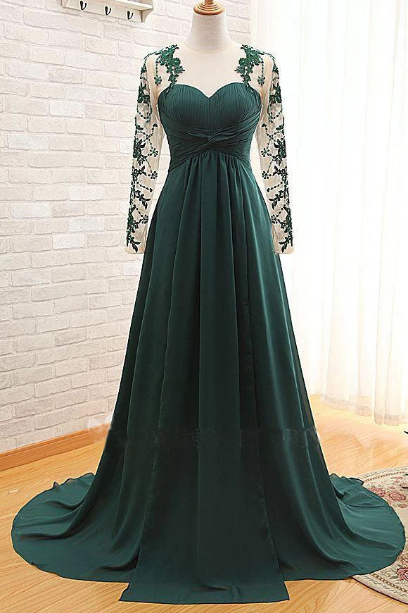 Elegant Long Sleeve Green Chiffon Long Appliqued Prom Dresses, Open Back Party Dresses P1069