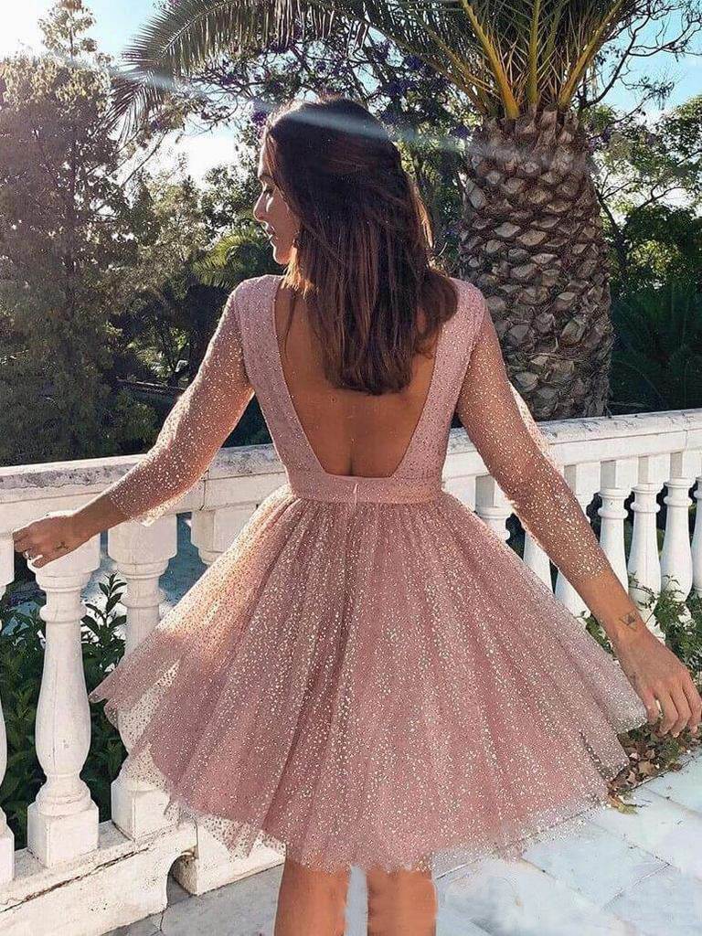 Elegant Long Sleeve Short Homecoming Dresses Backless Above Knee Formal Dress H1110