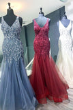 Elegant Mermaid V Neck Straps Tulle Long Prom Dresses Cheap Evening Dresses P1144