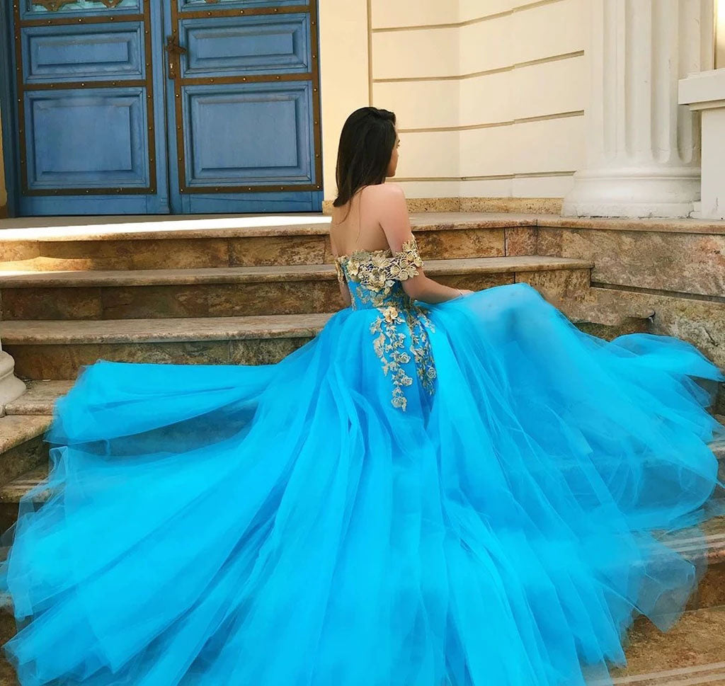 Elegant Off the Shoulder Blue Lace Prom Dresses with Gold Appliques Tulle Party Dresses P1157