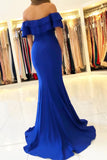 Elegant Off the Shoulder Royal Blue Mermaid Ruffle Sleeve Satin Long Prom Dresses P1153