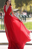Elegant Red Split V-Neck A-Line Chiffon Sexy Floor-Length Prom Dresses uk PM506