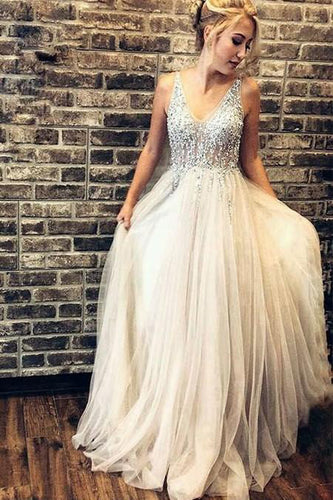 Elegant Rhinestones Bodice Prom Dresses with Tulle V Neck Backless Formal Dresses PW484