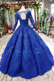 Elegant Royal Blue Long Sleeves Ball Gown Lace up Puffy Quinceanera Dress with Appliques P1136