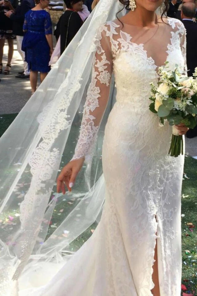 Elegant See Through Long Sleeve Lace Wedding Dresses Mermaid Wedding Dress with Slit W1069