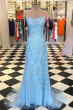 Elegant Spaghetti Straps Sky Blue Mermaid Backless Scoop Pageant Prom Dresses uk PW93