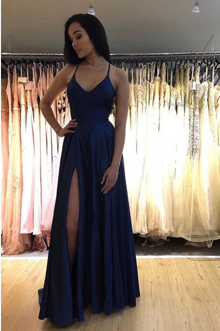 Elegant Spaghetti Straps V Neck Royal Blue Side Slit Prom Dresses Long Evening Dresses P1139