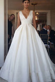 Elegant Straps V Neck Ball Gown Ivory Satin Backless Wedding Dresses with Pockets W1089