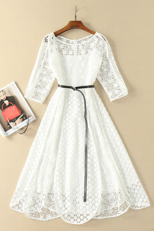 Elegant White Half Sleeve Lace Round Neck Homecoming Dresses, Belt Ankle Knee Prom Dress H1127