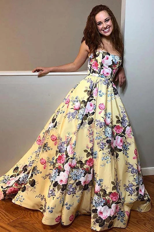 Elegant Yellow Floral Prints Satin Sweetheart Strapless Prom Dresses Long Evening Dresses P1082