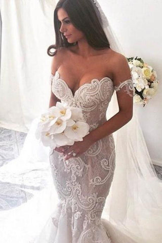 Ivory Lace Mermaid Off the Shoulder Sweetheart Appliques Wedding Dresses uk PW304