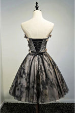A Line Black Sweetheart Strapless with Flowers Tulle Short School Dress,Homecoming Dress PH886