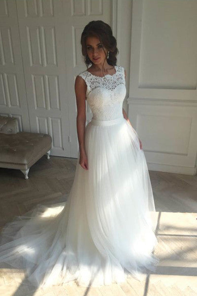 Charming white tulle lace round neck wedding dresses PW153