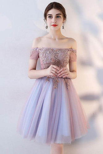 A Line Off the Shoulder Short Sleeve Lace Appliques Tulle Short Homecoming Dresses uk PW02