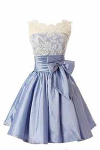 Elegant Scalloped-Edge Knee-Length Blue Homecoming Dress with White Lace Bowknot PM923