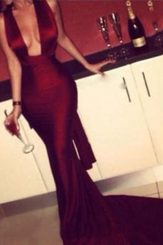 Modest Mermaid Dark Burgundy Red Long Criss Cross Fitted Sexy Backless Evening Dresses uk PH17