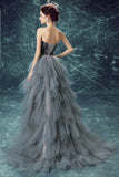 Elegant High Low Strapless Sweetheart Feathers Tulle Gray Prom Dresses with Lace up P1447