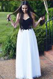 Pretty A-line Black and White Sweetheart Neck Long prom Dress PM421