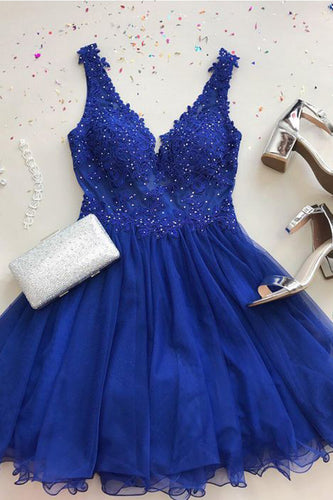 Cute A Line V Neck Chiffon Beads Royal Blue Short Homecoming Dresses with Appliques PH936