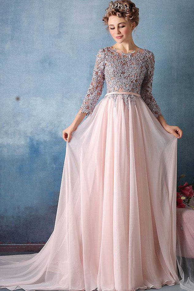 dd0fda2702f9 Scoop A-line Pink Chiffon with Silver Lace Appliqued Long 3/4 Sleeves Prom