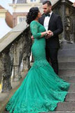 Newest Appliques Mermaid Tulle Prom Dresses 2017,Prom Dresses uk PM673
