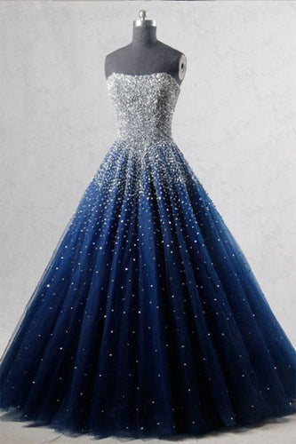 A-Line Blue Sweetheart Sequin Spaghetti Straps Tulle Long Lace up Prom Dresses UK PH519