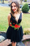 Flare Little Black Floral Homecoming Dress V Neck with Flowers Short Prom Dresses H1256