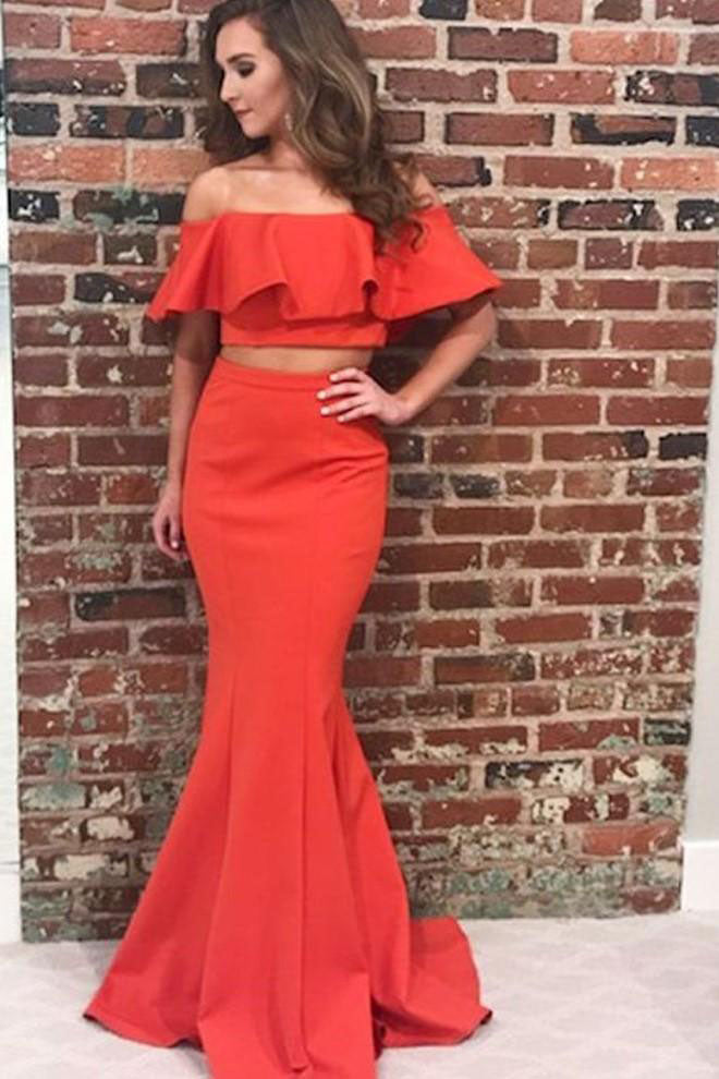 0b910df8e662 Flounced Off the Shoulder Satin Prom Dresses Two Piece Mermaid Long Formal  Dress PW490