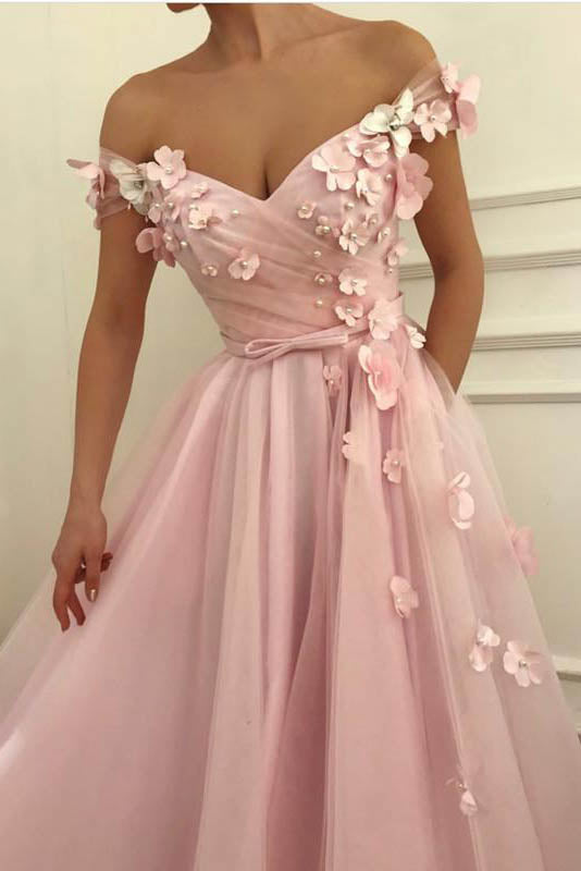 Flowers Beaded V Neck Off the Shoulder Prom Dresses Long Tulle Evening Gowns PW745