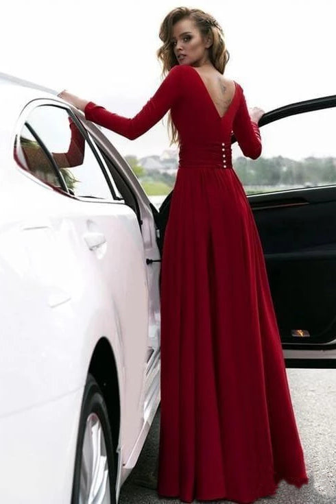 Flowy Long Sleeve V Neck Chiffon Long Formal Dresses with High Slit, Backless Prom Dress P1101