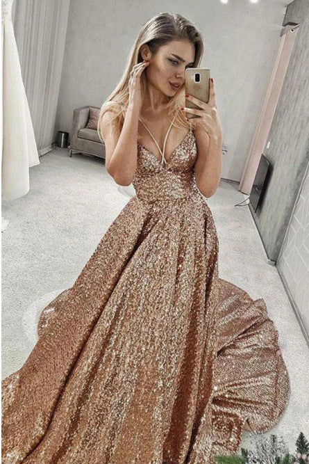 Puffy Sleeveless Sequined Court Train Prom Dress, Sparkly Sequin Evening Dresses P1168