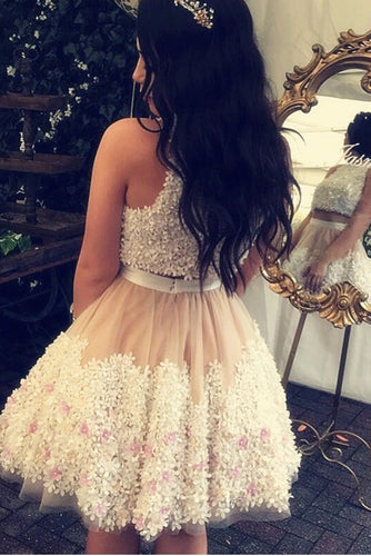 Cute Tulle Lace Round Neck Lace Appliques Two Pieces Short Homecoming Dresses uk PH952