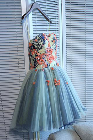 Unique Sweetheart Spaghetti Stripe Tulle Mini Lace up Homecoming Dress with Flowers PH782