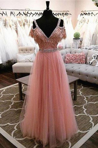 High Fashion A-Line V-Neck Off Shoulder Blush Pink Long Tulle Prom Dresses with Beads PH675