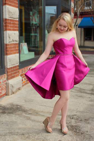 Sexy Sweetheart Strapless Fuchsia Mermaid Sleeveless Party Dress Homecoming Dress PH677