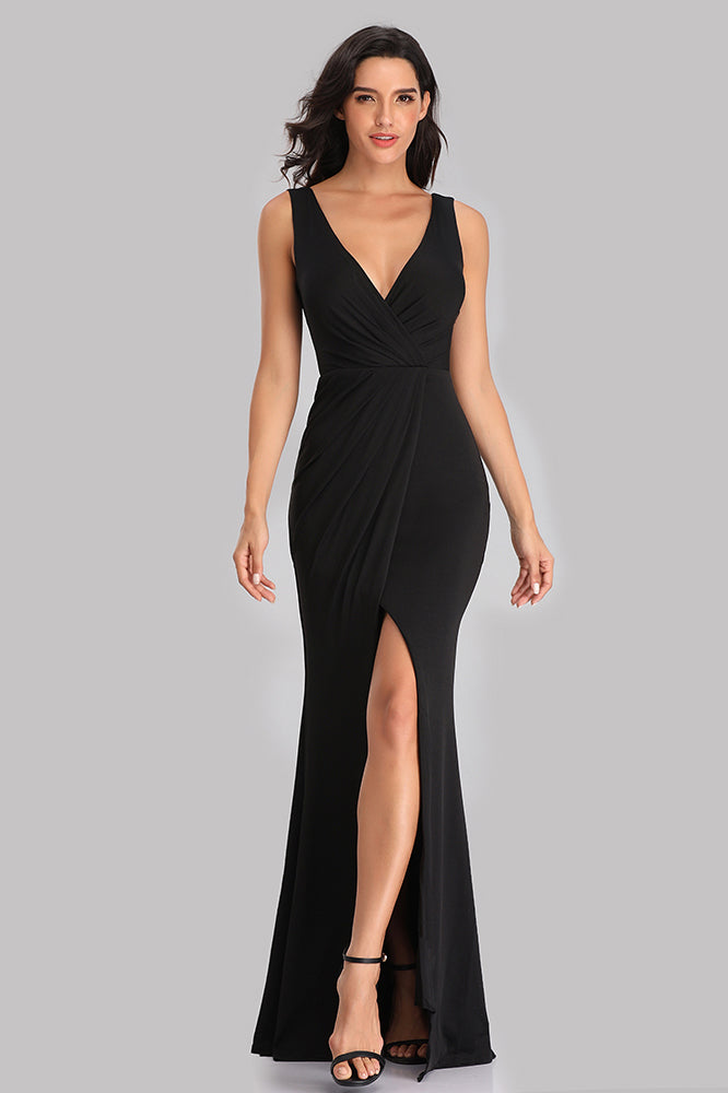 Unique Black V Neck Mermaid Prom Dresses with Slit Simple Evening Dresses XU90817