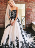 A Line Sweetheart Strapless White Tulle Black Lace Appliques Formal Prom Dresses P1417