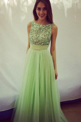 Elegant Scoop Beading A-line Tulle Green Floor-Length Bowknot Sequins Prom Dresses uk PM354