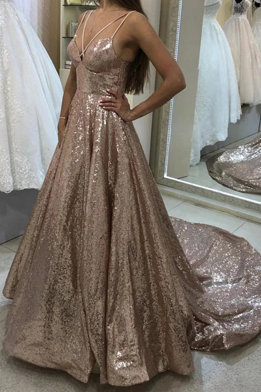 Puffy Sleeveless Sequined Court Train Prom Dress, Sparkly Sequin Evening Dresses P1198