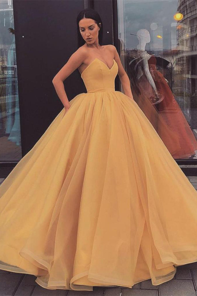 Sweetheart Strapless Yellow Long Modest Prom Gown, Long Ball Gown Quinceanera Dresses P1169