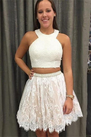 Fashion Two Piece A-Line Jewel Sleeveless Short Homecoming Dress With Beading Lace PH745
