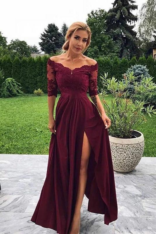 Modest Off the Shoulder Burgundy Bridesmaid Dresses with Slit, Prom Dresses P1498