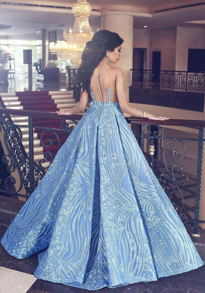 Elegant Blue Long Sleeve Mermaid Appliques Long Prom Dresses, Party Dresses P1344