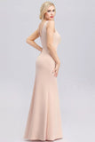 Elegant V-Neck Floral Lace Pink Evening Dress Satin Prom Dresses P1186