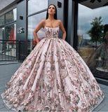 Princess Ball Gown Spaghetti Straps Beads Floral Print Prom Dresses Long Quinceanera Dress P1180