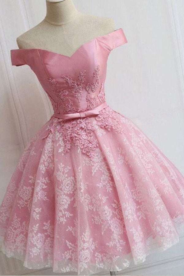 Off the Shoulder Lace up Lace Appliques Dusty Rose Short Prom Dress,Homecoming Dresses PH759