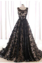 Black Round Neck Tulle Long Beads Lace A-Line Lace up Sleeveless Prom Dresses UK PH396