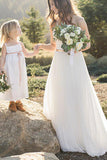 Elegant Ivory A-Line Sweetheart Floor-Length Tulle Long  Sleeveless Wedding Dress PM414