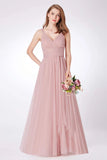 Simple A Line Pink V Neck Tulle Sleeveless Prom Dresses Long Bridesmaid Dresses P1178