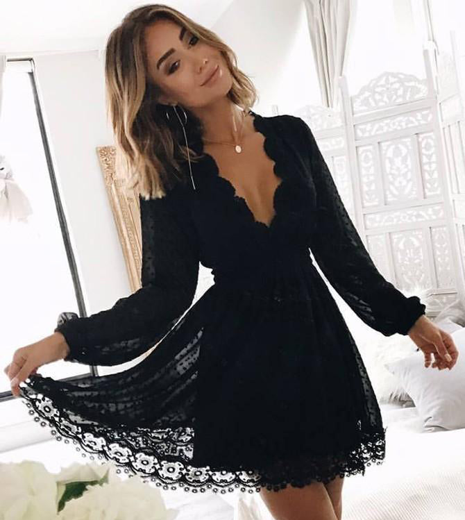 Chic Black Deep V Neck Long Sleeves Lace Homecoming Dress, Black Short Prom Gowns H1343